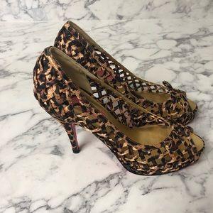 NWT Betsey Johnson leopard heels